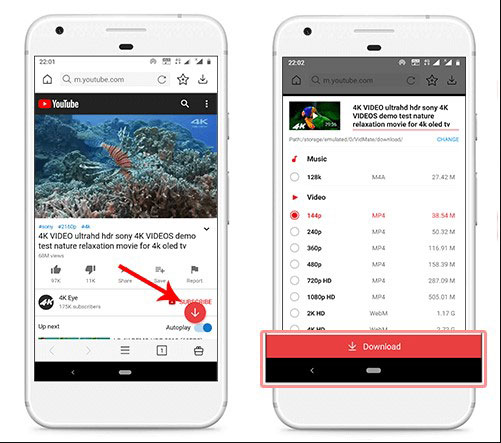 télécharger des vidéos 8k de YouTube sur Android