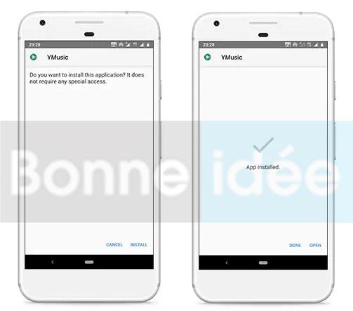 installer YMusic apk sur un appareil Android