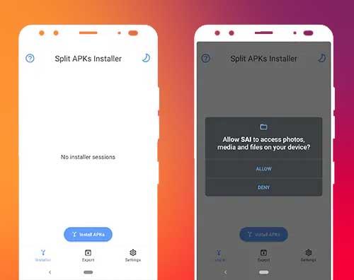 Installer APK utilisant SAI