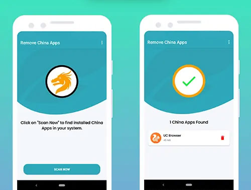 appuyez sur scan pour trouver des applications chinoises